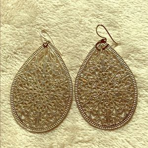 Silver filigree metal earrings